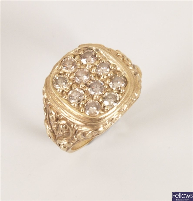 A gentleman's 9ct gold cushion top signet ring