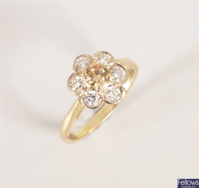 18ct gold seven stone diamond daisy cluster ring