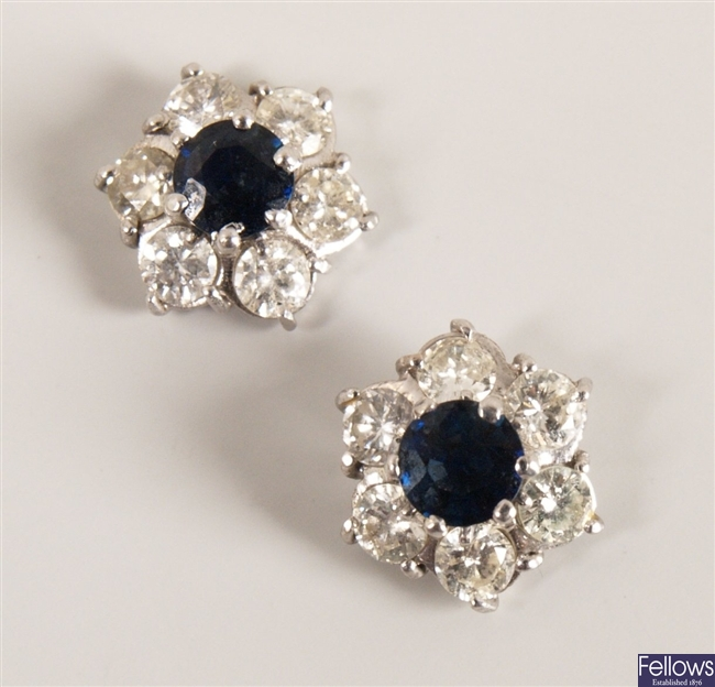 Pair 18ct white gold sapphire and diamond seven
