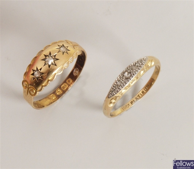 Two rings to include a Victorian 18ct gold three