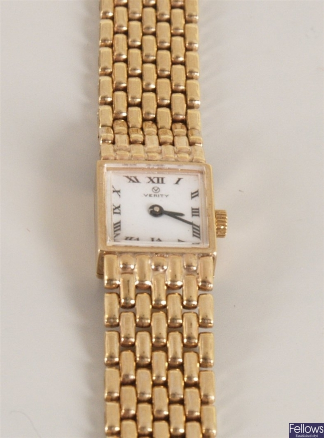 Verity - 9ct gold ladies wristwatch the square