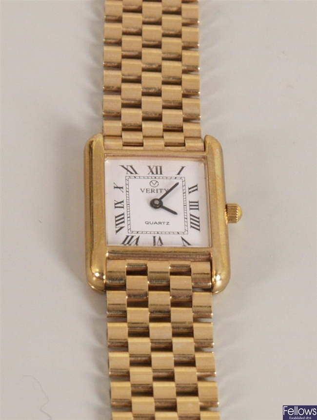 Verity - 9ct gold ladies wristwatch, the white