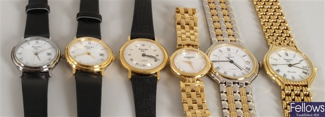 Six watches to include a ladies Raymond Weil with