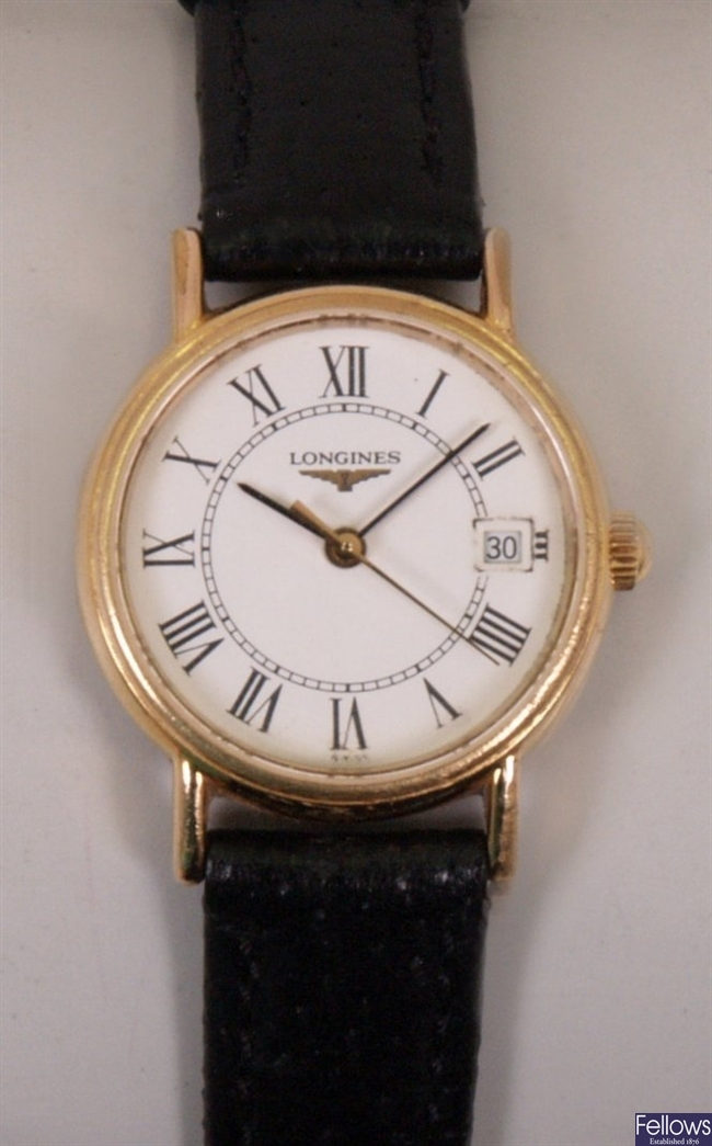 LONGINES - A ladies gold plated battery operated