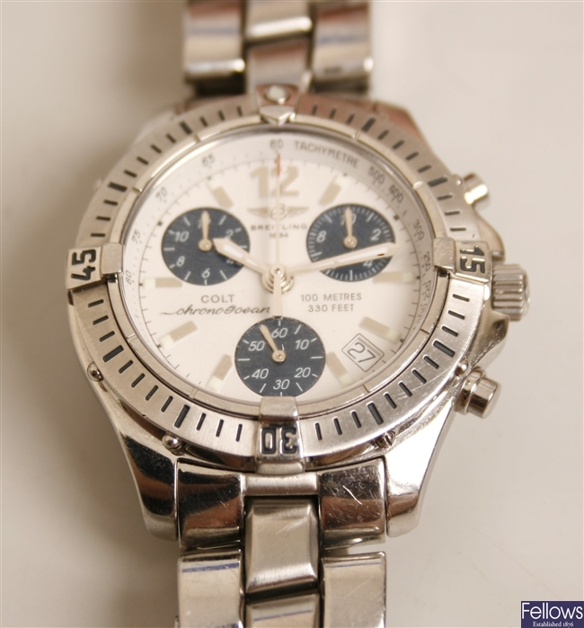 BREITLING - a gentleman's stainless steel Chrono