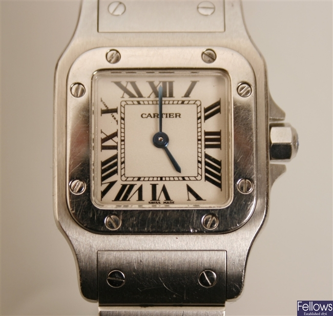 CARTIER - a ladies stainless steel Santos