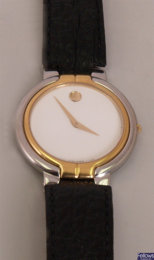 MOVADO- a gentleman's steel and gilt cased