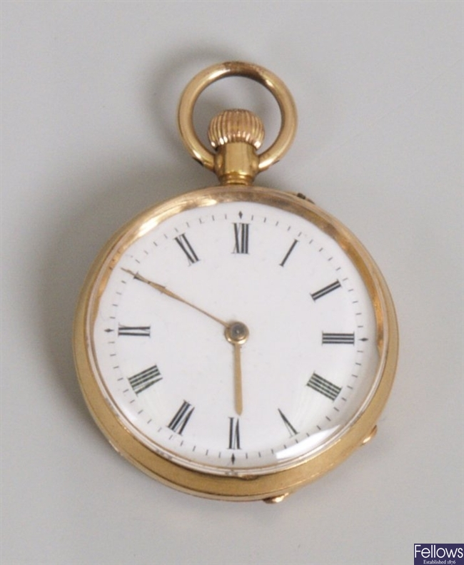 An Edwardian 18ct gold top wind pocket watch the