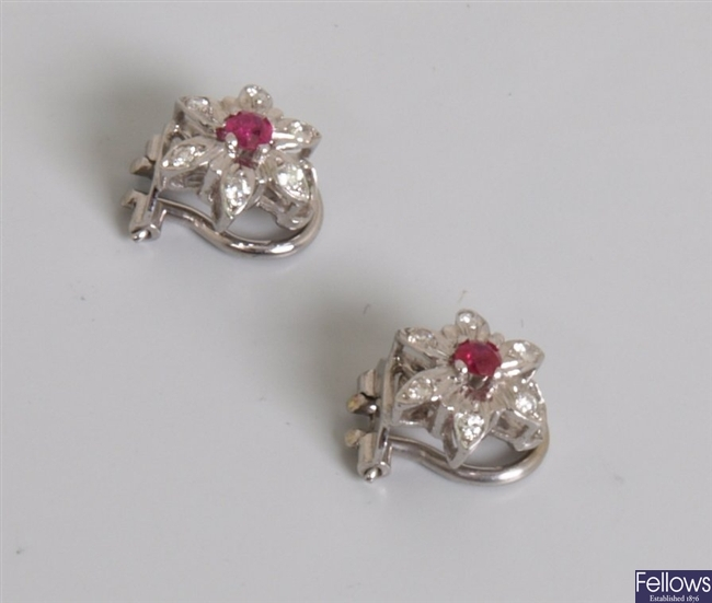 18ct white gold ruby and diamond floral stud