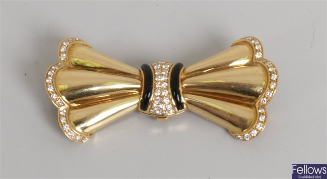 Continental 18ct gold diamond and onyx brooch,