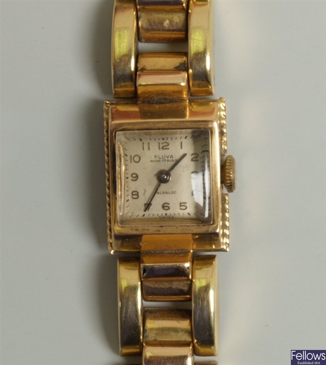 A ladies 18ct manual wrist watch, the square