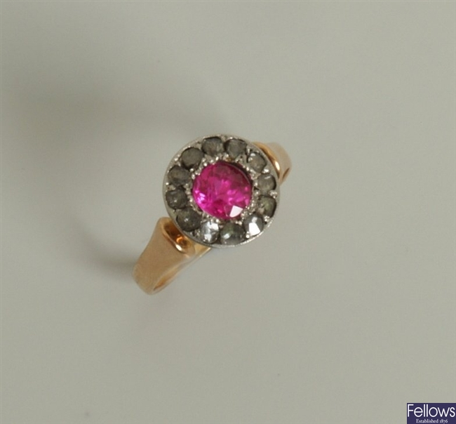 Synthetic ruby and diamond point cluster ring