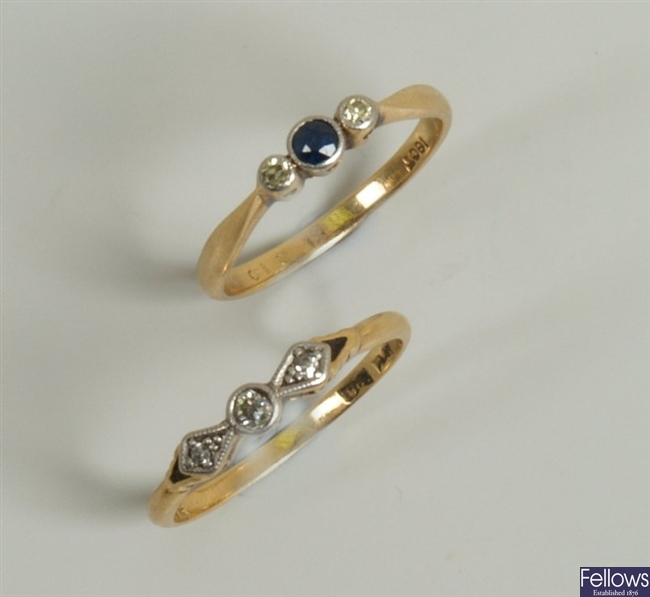 Two rings to include an 18ct gold and platinum