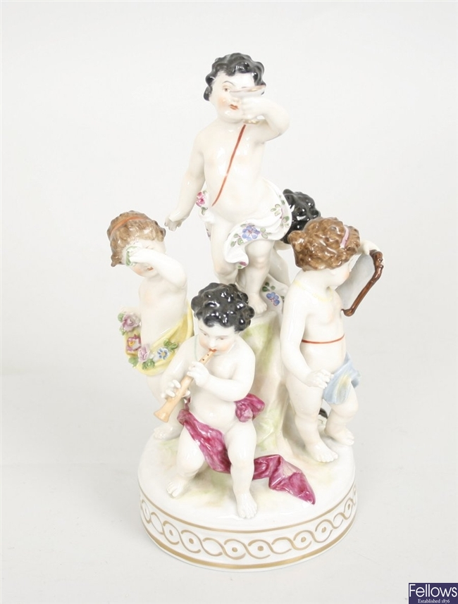 A Viennese style figural group, depicting five