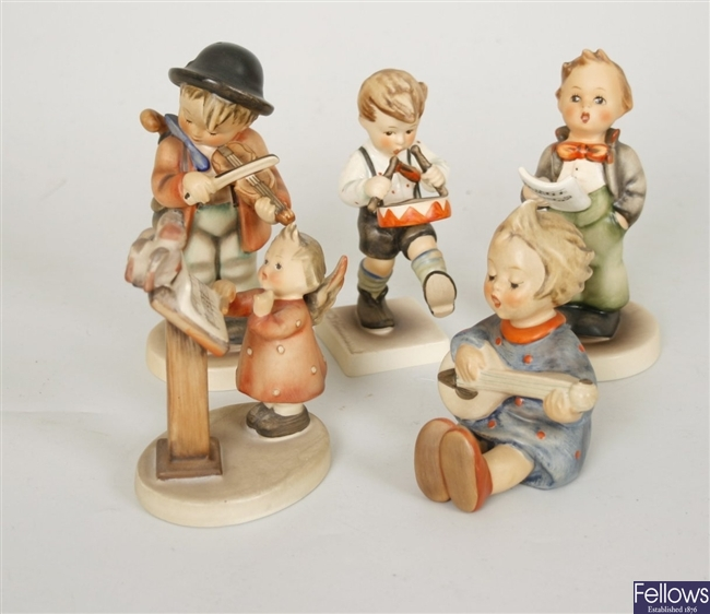 Five Goebel, M J Hummel figurines to include