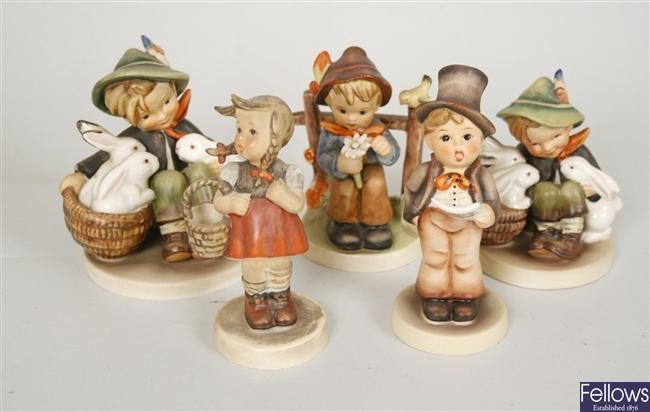 Five Goebel, M J Hummel figurines to include 'To