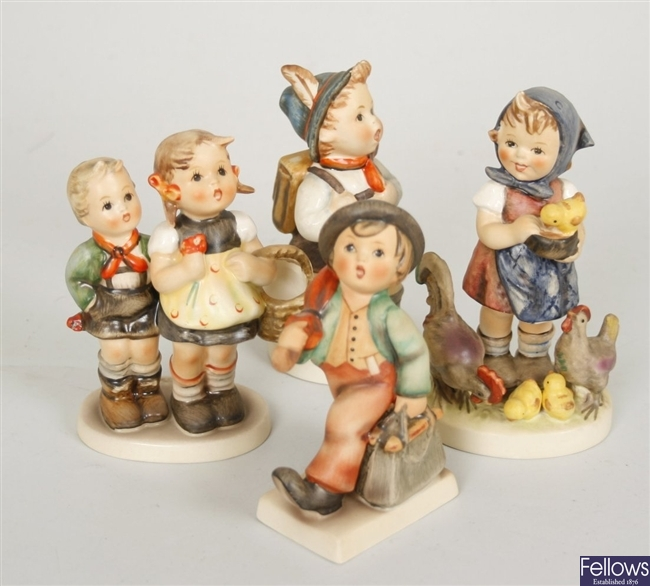 Four Goebel, M J Hummel figurines to include