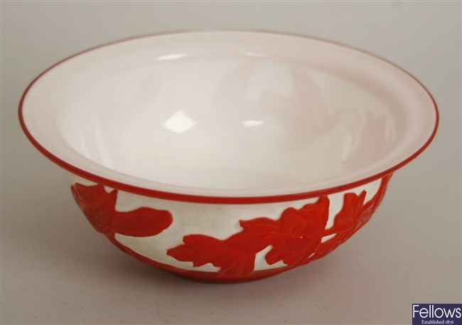A cameo glass bowl, the red on white glass