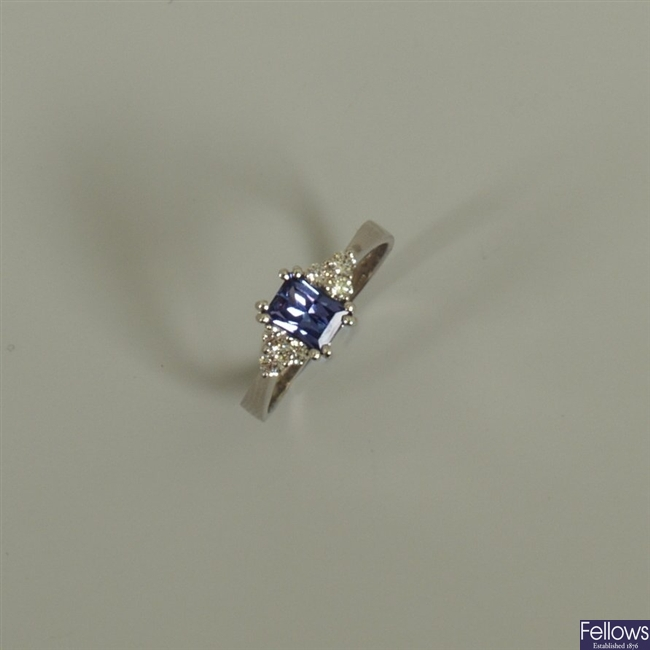 18k white gold tanzanite and diamond ring, with a