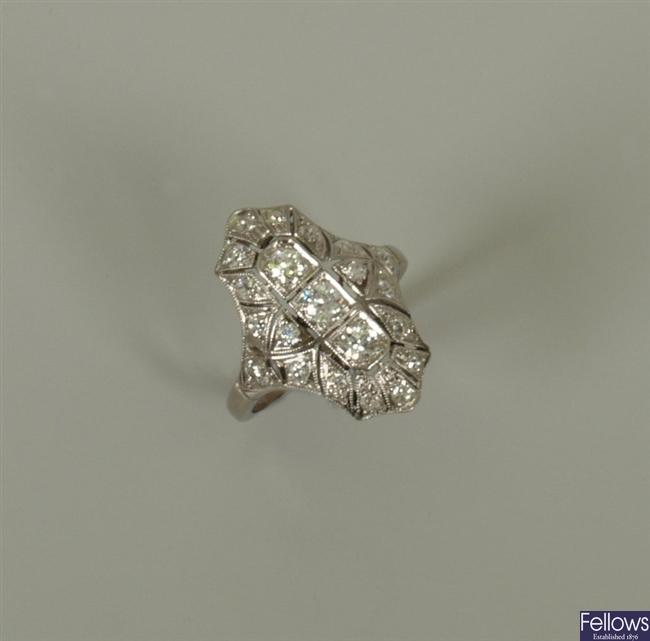 Early twentieth century 18ct white gold diamond