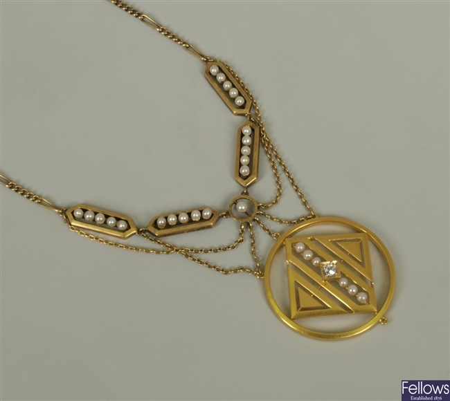 Early twentieth century 14ct gold seed pearl and