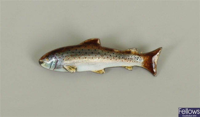 15ct gold and silver enamelled trout design