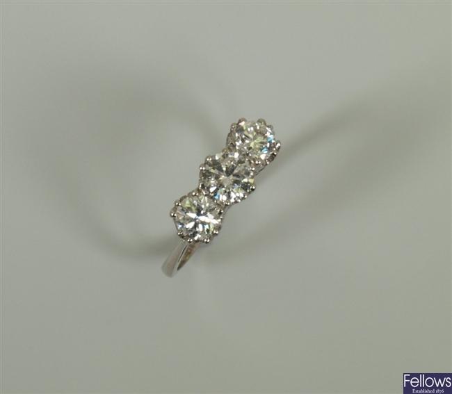 18ct white gold three stone diamond ring with