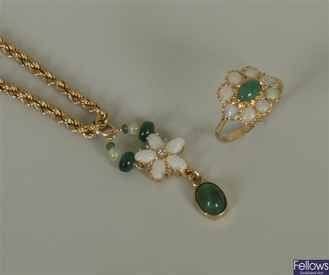Two items, to include a 9ct gold emerald and opal