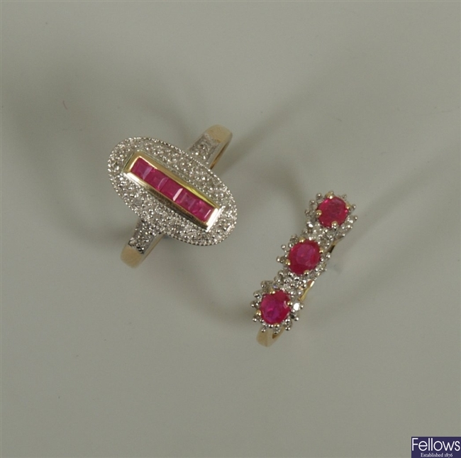 Two rings, to include a 9ct gold ruby and diamond