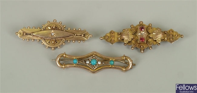 Three early twentieth century bar brooches to