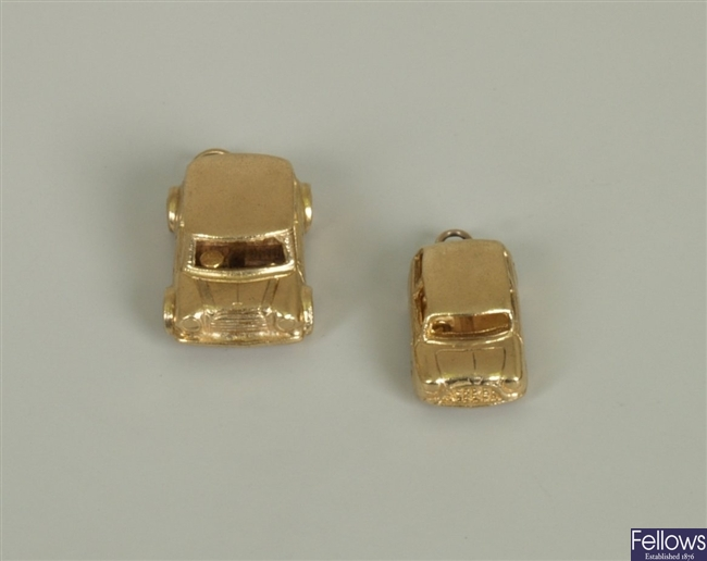 Two 1960's 9ct gold Mini car charms, London 1962