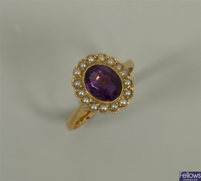 18ct gold amethyst and seed pearl cluster ring