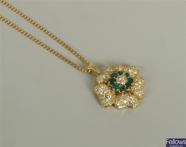 18ct gold emerald and diamond floral cluster