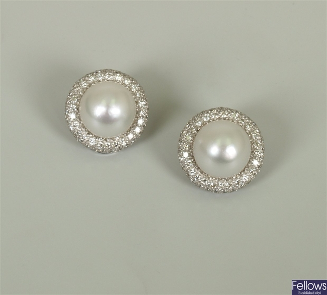 Pair of cultured pearl and diamond cluster stud