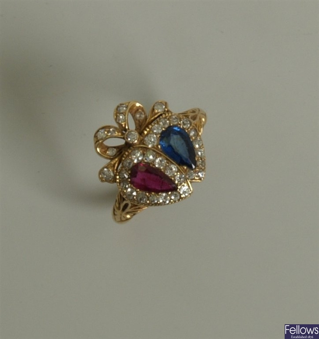 A Victorian 18ct gold sapphire, ruby and diamond