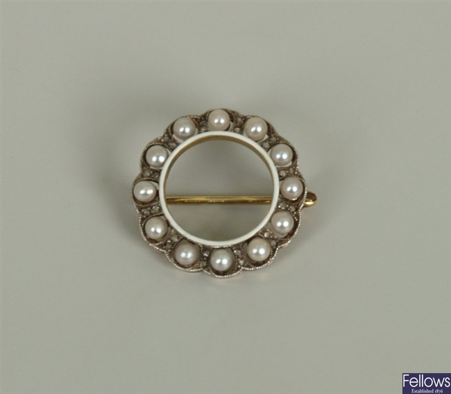 Cultured pearl and diamond wreath brooch with an