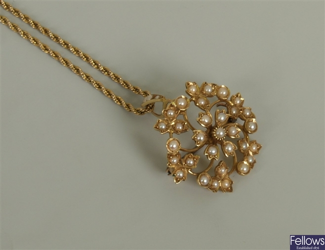 Victorian 15ct gold seed pearl pendant with a