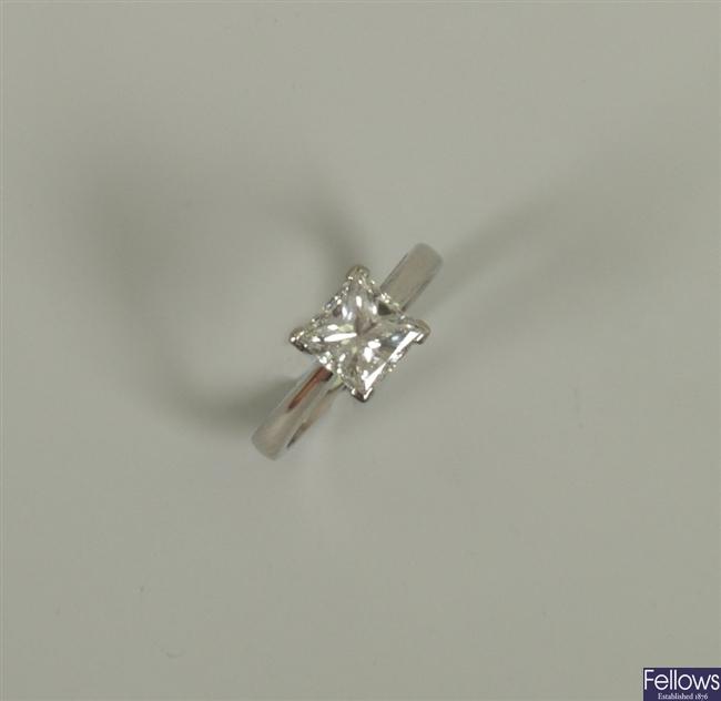 Platinum mounted princess cut single stone