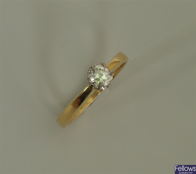18ct gold single stone diamond ring with a claw