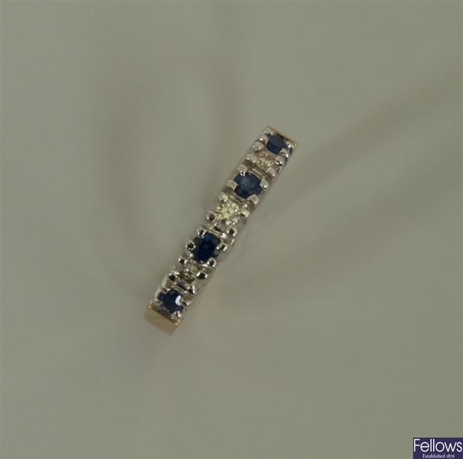 9ct gold seven stone sapphire and diamond half