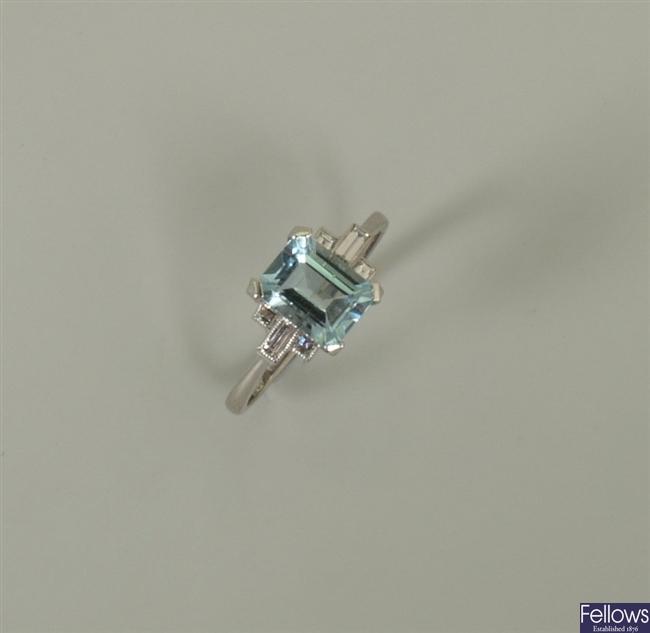 18ct white gold aquamarine and diamond ring, with