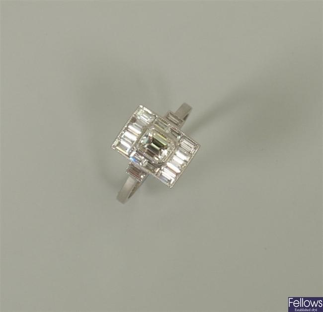 18ct white gold Art Deco style diamond cluster