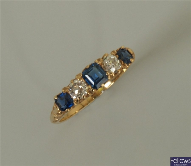 18ct gold five stone sapphire and diamond ring,