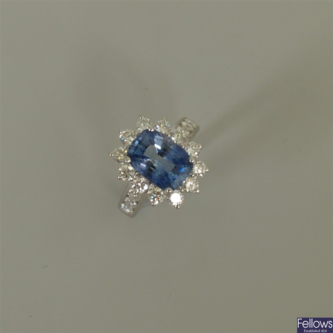 18k white gold sapphire and diamond cluster ring,