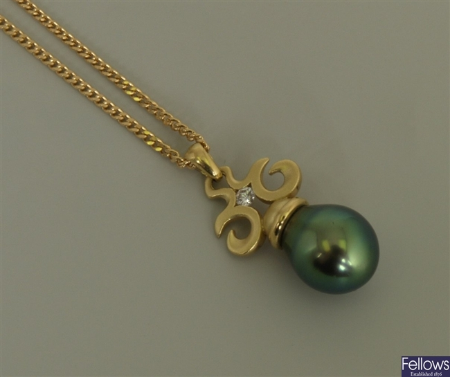 18ct gold cultured pearl and diamond pendant with