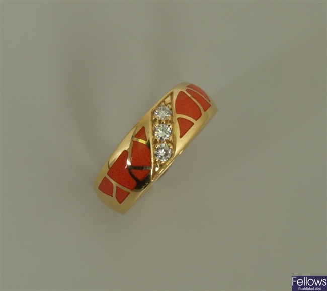 18ct gold enamel and diamond band ring with three