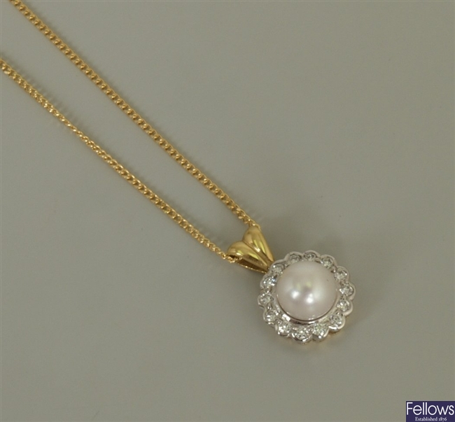 18ct gold cultured pearl and diamond cluster