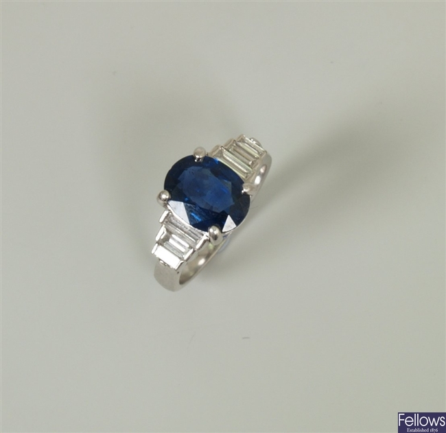 18ct white gold sapphire and diamond ring, with a