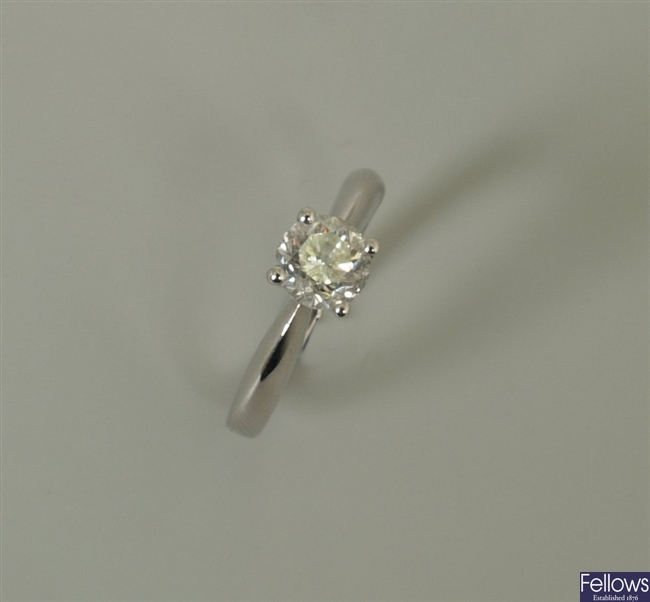 18ct white gold single stone diamond ring with a