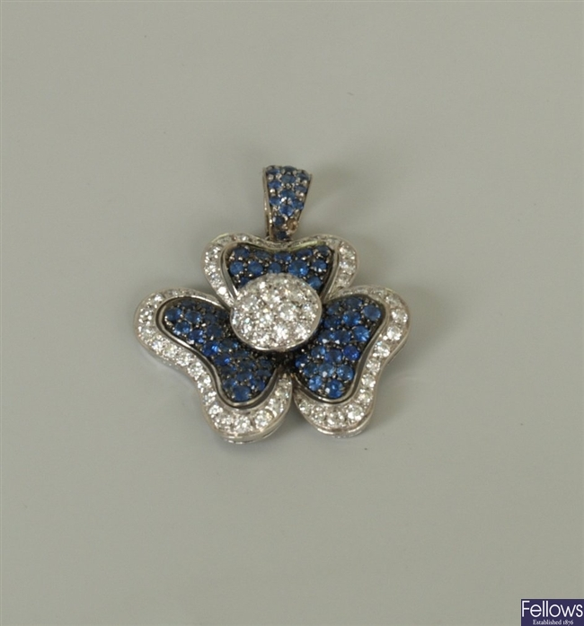 18ct white gold sapphire and diamond floral